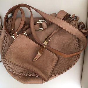 Brown Pebble Leather Cross Body Bag